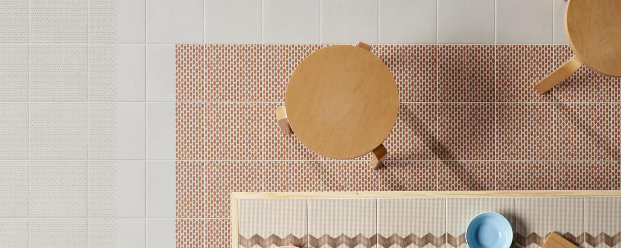 MUTINA ceramiche & design Tape Raw Edges base white + mesh brown + mesh half brown + cobble half brown + cobble brown + zigzag half brown + zigzag brown