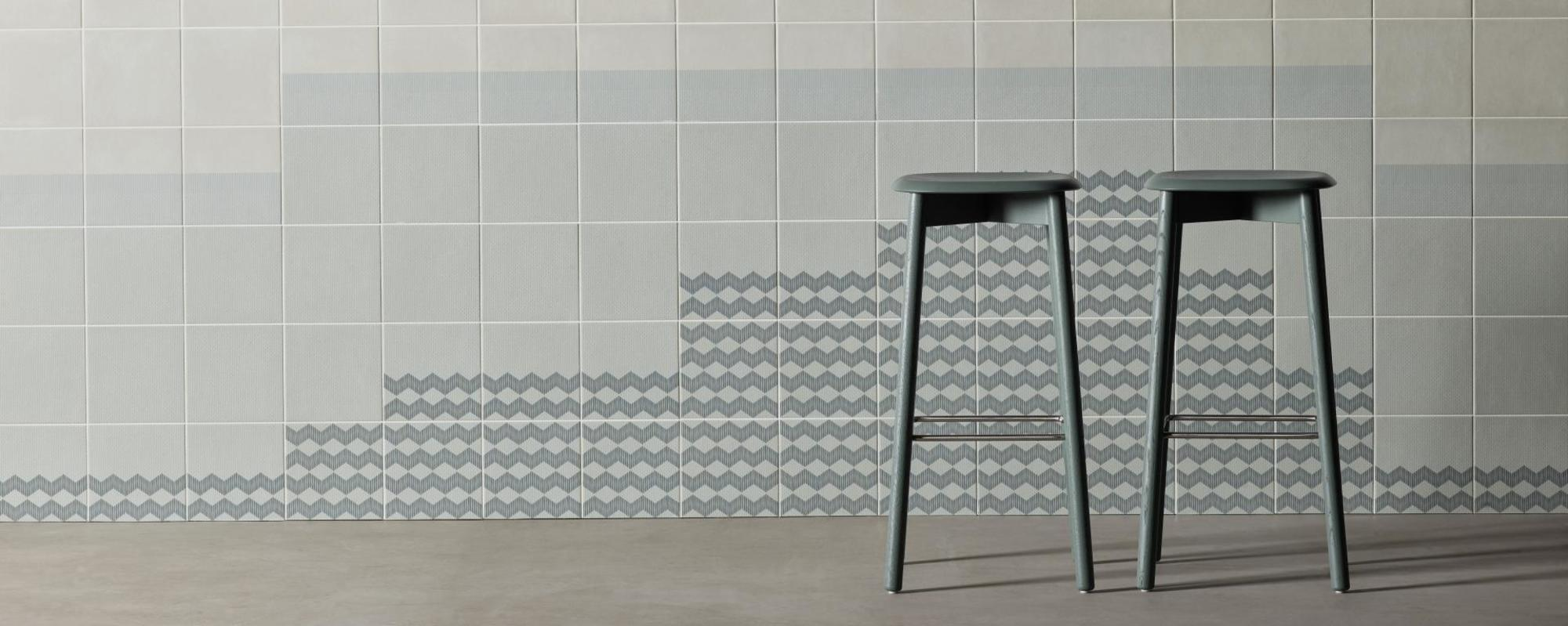 MUTINA ceramiche & design Tape Raw Edges zigzag green + zigzag half green + grainy green + grainy half green + base white + cobble half blue