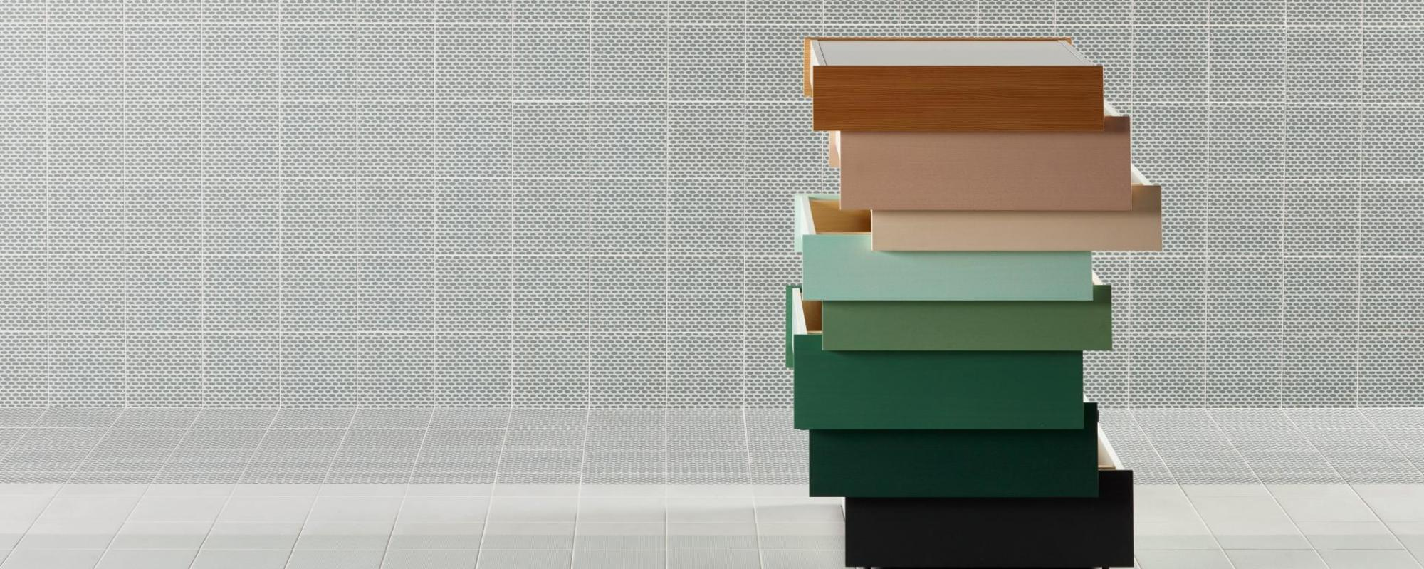 MUTINA ceramiche & design Tape Raw Edges zigzag green + zigzag half green + grainy green + grainy half green + base white + cobble half green + cobble green