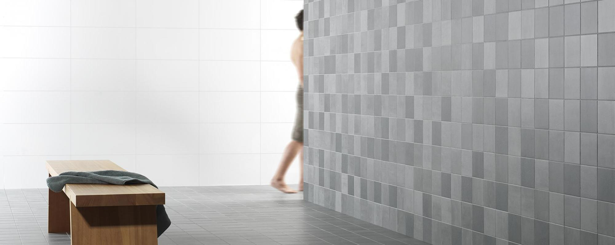 Royal MOSA tiles Scenes green grey 6130V grain & 6131V clay & 6132V sand & 6133V grit 15x15 & 27010 white mat 30x60